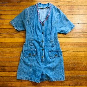 VINTAGE Womens Jean Romper S Jumpsuit Denim Blue